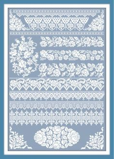 Cross stitch pattern blue and white boarders Cross Stitch Boarders, Cross Stitch Sampler Patterns, Cross Stitch Rose, Cross Stitch Samplers, Cross Stitch Flowers, Cross Stitch Kits, Cross Stitch Charts, Cross Stitch Designs, Cross Stitching