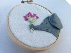 the flowers and elephant details are embroidered on a felt elephant head, cleverly done with the ear wrapped around the hoop, don't need to buy..