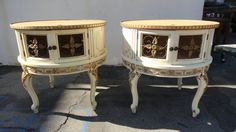 """my next makeover project - my new bedside tables are en route from LA now!    need: 2 custom cut 25.5"""" diameter mirrored glass tabletops + new hardware, paint job"""