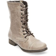 Steve Madden Women's Troopa Boots ($80) ❤ liked on Polyvore featuring shoes, boots, ankle booties, ankle boots, stone leather, steve madden boots, steve-madden ankle booties, low heel ankle boots, military boots and combat boots