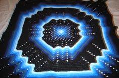 Hand crocheted multi blue/black lapghan/afghan/coverlet combines 2 vintage favorite patterns granny square & ripple