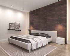 The bedroom interior design featured with wooden wall panels Trapezium. Download 3d model by the link