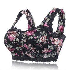 Sexy Floral Printing Lace Hem Bras Breathable Wireless Vest Bra