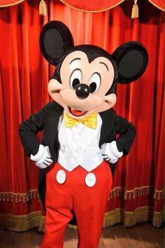 Mickey Mouse striking a pose backstage at the Town Square Theater in the Magic Kingdom