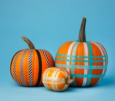 Use washi or other decorative tape for no-carve plaid pumpkin decorating.