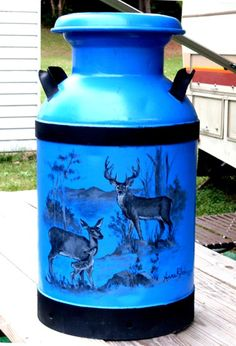 Anne Rhodes Milk Can Painted Milk Cans, Paint Cans, Tole Painting, Painting On Wood, Milk Can Decor, Diy Log Cabin, Old Milk Cans, Vintage Milk Can, Lego Craft