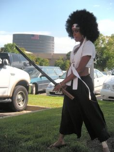 Went as the Afro Samurai...with breast.  This costume was fun to make because I did a slight redesign to make it for a girly appearance. #cosplay #afro #anime