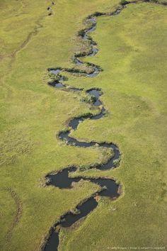 Aerial view of river, La Gran Sabana or Great Savanna Rivers, Guayana Region, Venezuela