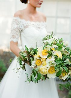 Off the shoulder lace wedding dress in a Yellow wedding bouquet photographed by Jose Villa @weddingchicks