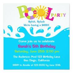 Pool Party Invitations  Pool Party Invitations Party Invitations