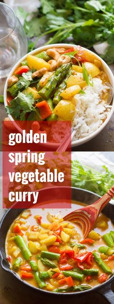 Tender asparagus, new potatoes, and red bell peppers are simmered in turmeric-spiked Thai coconut curry sauce to make this spring veggie golden curry.
