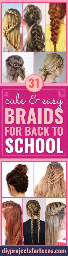31 Cute and Easy Braids For Back To School, Peinados, Easy Braids With Tutorials - Cute Braiding Tutorials for Teens, Girls and Women - Easy Step by Step Braid Ideas - Quick Hairstyles for School - Creati. School Hairdos, Quick Hairstyles For School, Step By Step Hairstyles, Cute Girls Hairstyles, Casual Hairstyles, Braided Hairstyles, School Braids, Easy Hairstyle, Braids Tutorial Easy