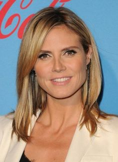 Heidi Klum Medium Bob Hairstyles 2015 with Swept Bangs
