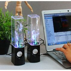 Black Dancing Water Fountain Light Show Sound Speaker for Cellphone Notebook Mp4. Want it? Own it? Add it to your profile on unioncy.com #gadgets #tech #electronics