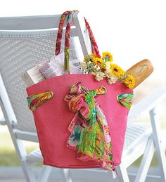 Fuchsia Olivia Jute Tote With Removable, Coordinating Scarf