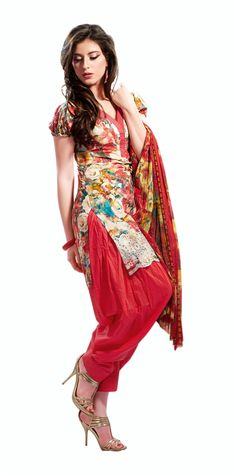 Natasha Couture Floral Red Printed Cotton Salwar Kameez