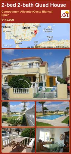 Quad House for Sale in Campoamor, Alicante (Costa Blanca), Spain with 2 bedrooms, 2 bathrooms - A Spanish Life Alicante, Quad, Valencia, Portugal, Large Bathrooms, Property Development, Double Bedroom, Open Plan Living, Murcia