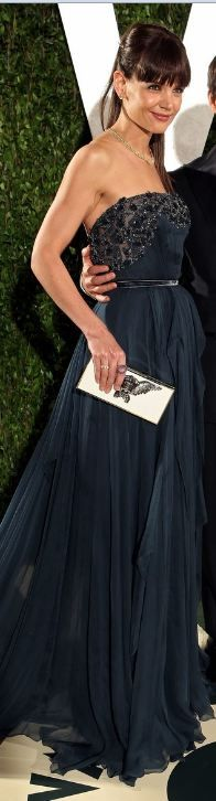 Katie Holmes at the Hollywood Oscar After Parties:    Dress – Elie Saab    Purse – Lanvin    Shoes – Chanel LBV