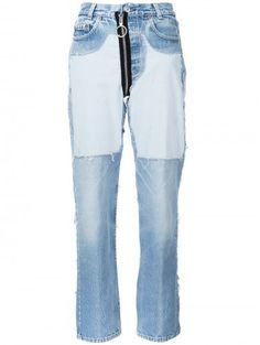 Off-White Contrast Panel Boyfriend Jeans - Farfetch Blue Denim, Blue Jeans, Boyfriend Fit Jeans, Patched Jeans, Denim Pants, Fall Trends, High Waist Jeans, Off White, Trending Outfits