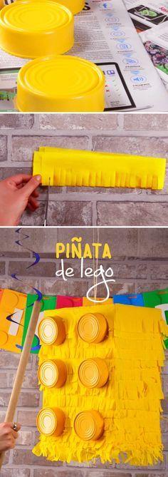 Prepara una sencilla y padrísima piñata para la fiesta de tus hijos con la temática de Lego. Verás que el resultado será increíble y de esta manera lograrás una fiesta inolvidable en la que la piñata no puede faltar.