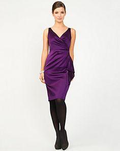 Satin Faux-Wrap Dress