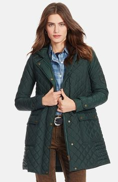 Lauren+Ralph+Lauren+Hooded+Quilted+Coat+available+at+#Nordstrom