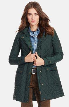 Lauren+Ralph+Lauren+Hooded+Quilted+Coat+available+at+#Nordstrom