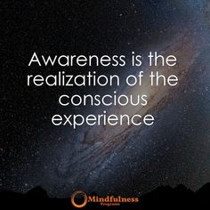 Awareness is the realization of the conscious experience.