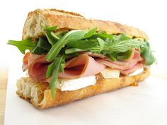 Ham and Brie Sandwich with Arugula