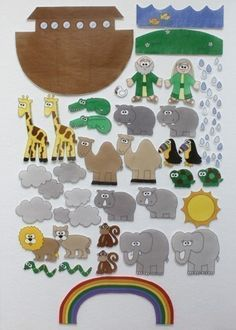 Noahs Ark Felt Figures, Im going to use this for our churchs childrens church! Bible Crafts, Felt Crafts, Felt Board Patterns, Flannel Boards, Sunday School Crafts, Busy Book, Kids Church, Bible Stories, Bible Lessons