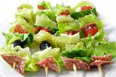 Low Carb Salad on a Stick, Italian-Style. This is such a fun way to serve a salad. Tastes like an yummy Italian chopped salad. Great as an appetizer too. Each has 72 calories, 5g fat & 2 Weight Watchers Points Plus. http://www.skinnykitchen.com/recipes/low-carb-salad-on-a-stick-italian-style/