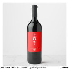 Red and White Santa Christmas Wine Label