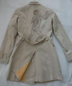 Angel hand painted trench coat, size XS - for sale on my blog: noravintage.blogspot.com