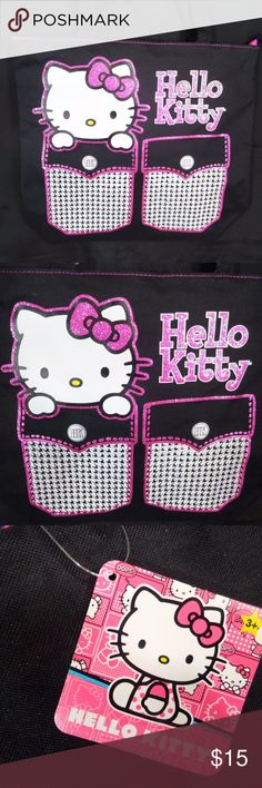 """SANRIO HELLO KITTY ADORABLE SHOULDER TOTE BAG Just in time for back to school   This Sanrio Hello Kitty Tote is the perfect carry all bag for any girl!   Bag Height= 13. 6/8"""" Bag Length= 16. 1/4"""" Bag Depth= 5.3/8"""" Strap Drop= 11"""" Sanrio Bags"""