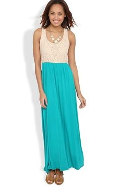 Deb Shops #Maxi #Dress with Taupe Lace Racerback Tank $26.17