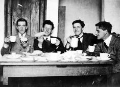 Members of the Squad enjoying a cup of Tea, Included are Joe Leonard, Paddy O'Daly, Jim and Joe Slattery Ireland 1916, Ireland Map, Easter Rising, Michael Collins, One Wave, Free State, My Books, Irish, Photo Galleries