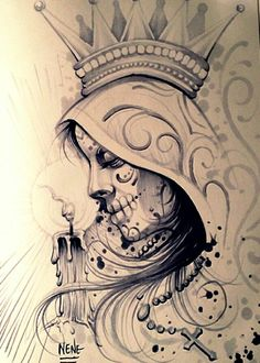 ♥ Chicano Art Tattoos, Chicano Drawings, Gangsta Tattoos, Skull Tattoos, Body Art Tattoos, Fake Tattoos, Temporary Tattoos, Tattoo Sketches, Art Sketches