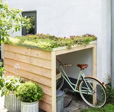 Garden Bike Storage, Backyard Storage, Small Gardens, Outdoor Gardens, Dream Garden, Home And Garden, Bike Shelter, Bike Shed, Exterior