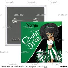 Cheer Diva Cheerleader Girl | DIY Name | Green Button