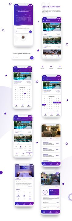 iOS UI Kit For Hotel Booking - UI Kits - Ideas of UI Kits - iOS App design for hotel bookings. Clean and modern design complimented by a bold colour palette and linear icons. Room Booking App, Hotel Booking App, Hotel App, Android App Design, Ios App Design, Mobile App Design, Android Ui, Interface Design, User Interface