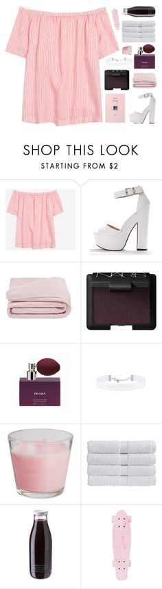"""""""♡ and life will always be la vie en rose"""" by deli-lemonade ❤ liked on Polyvore featuring J.Crew, Frette, NARS Cosmetics, Prada, Christy and Daylesford"""