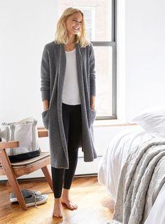 Long Boucle Cardigan & Comfy Black Leggings | Soft Leisure Collection