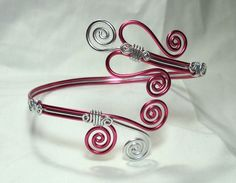 Bracelet, Arm Cuff, Pink, Silver, Aluminum, Wire Wrap, Unique Jewelry by thecuriouscupcake on Etsy