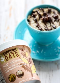 This oatmeal Almond Joy Mug Cake made with almond butter and gluten-free oats can be a delicious breakfast or a healthier dessert, you decide! Refined sugar-free and vegan-friendly. \\ sponsored by Modern Oats