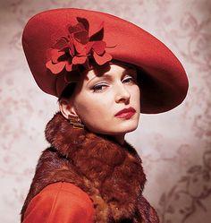 Vintage Vogue 7464 - vintage hat inspiration, turned back brim, felt flowers