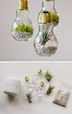 DIY projects with old light bulbs - 25 creative craft ideas DIY Projekte mit alten Glühbirnen – 25 kreative Bastelideen Craft Project Ideas: 28 DIY Home Decor Ideas on a Budget Hanging Mason Jar Lights, Mason Jar Lighting, Diy Hanging, Hanging Light Bulbs, Diy On A Budget, Decorating On A Budget, Budget Crafts, Decorating Hacks, Summer Decorating