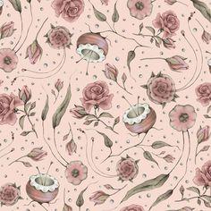 QT/Curiosity - BAVLNA - Jemné květinky SVĚTLE RŮŽOVÁ/Pale Rose