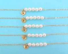 Set of 1-10 Initial Row Of Pearls Gold Filled/ by Solistar on Etsy