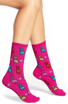 HOT SOX 'French Bulldogs' Crew Socks (3 for $15) available at #Nordstrom