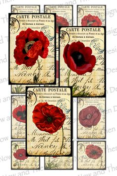 Digital Collage Sheet Printable Vintage by Nowandthendesigns, $1.99